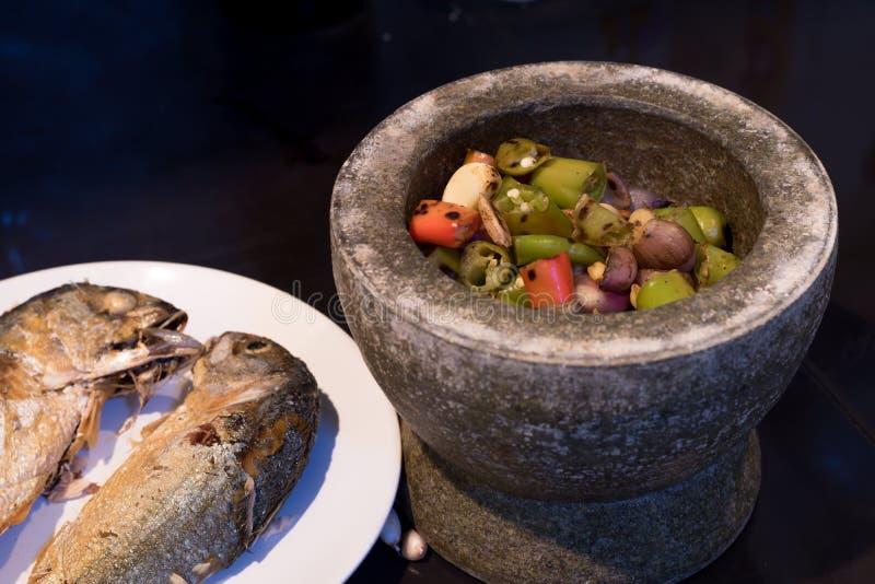 Chili pasta dla Korzennej makreli w Tajlandzkich kulinarnych foods zdjęcie stock
