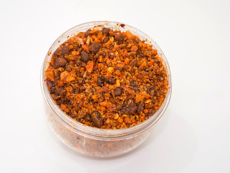 Chili Paste Dried in the Bowl. Chili Paste Dried in the Bowl on white background stock image