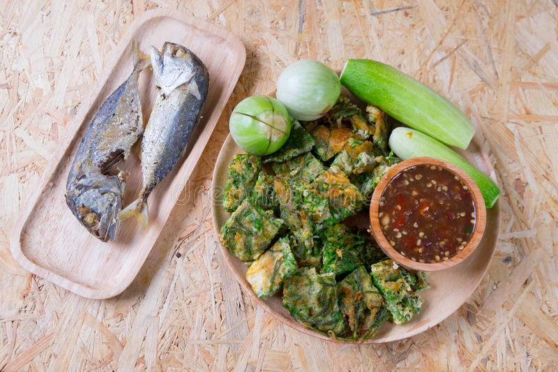 Chili paste mixes with fish serves with fried mackerel royalty free stock photography