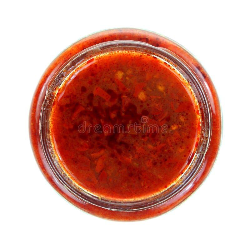 Chili Paste Top View rosso fotografia stock