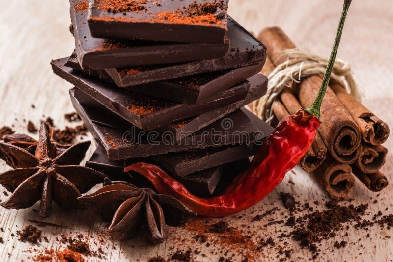 Chili Pepper con cioccolato e l'altro condimento immagine stock libera da diritti