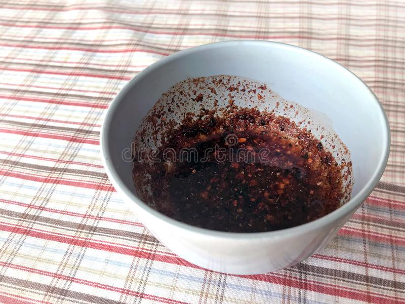 Chili Pepper in cup, Spicy sauce dipping, Chilli dip countryside food, Chili paste Thai rustic menu easy street foods stock photo