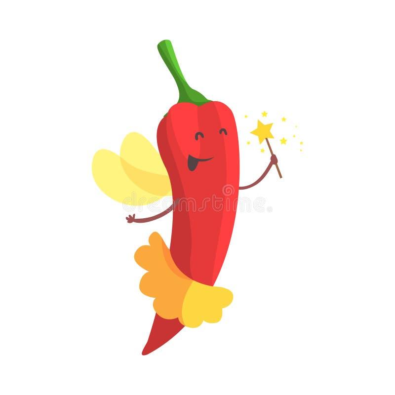 Chili Pepper Fairy In Skirt con la vara mágica, parte de verduras en fantasía disfraza la serie de caracteres tontos de la histor stock de ilustración