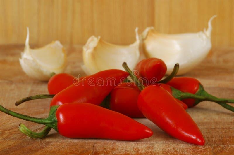 Chili Pepper and Garlic. stock photo