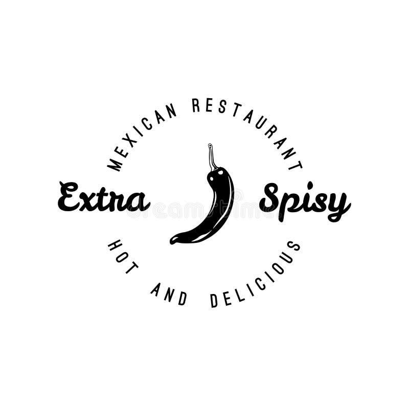 Chili Pepper hand drawn vector illustration. Mexican restaurant. Menu Design. Vecot. royalty free illustration