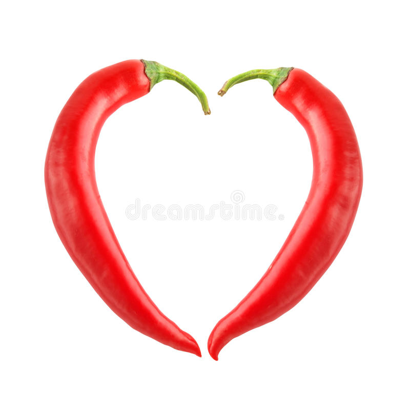 Chili pepper heart. Shape isolated stock images