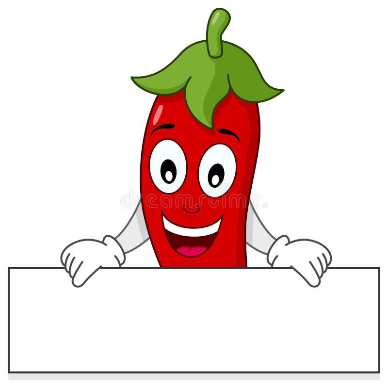 Chili Pepper Holding Banner candente stock de ilustración
