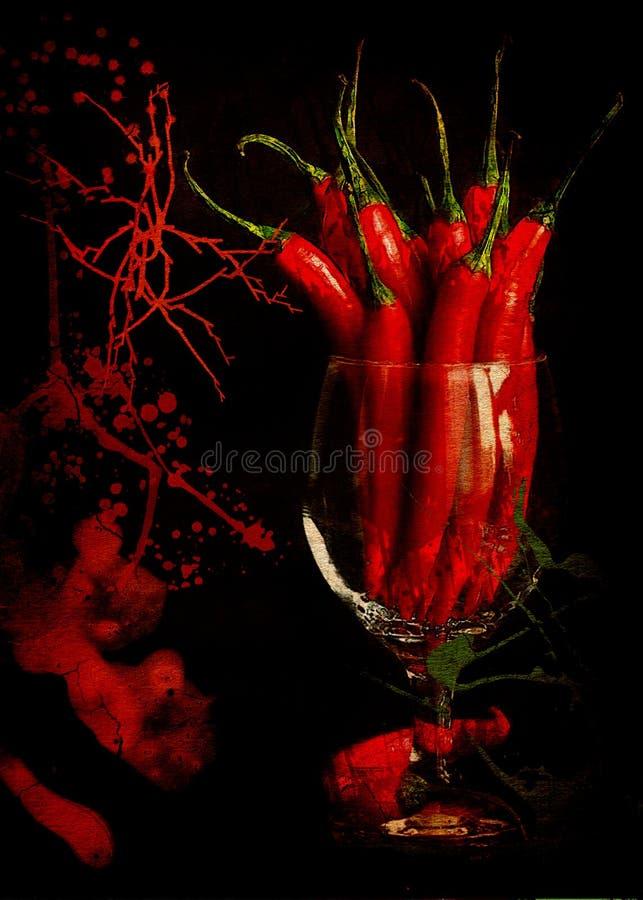 Chili Pepper nel vetro immagine stock libera da diritti