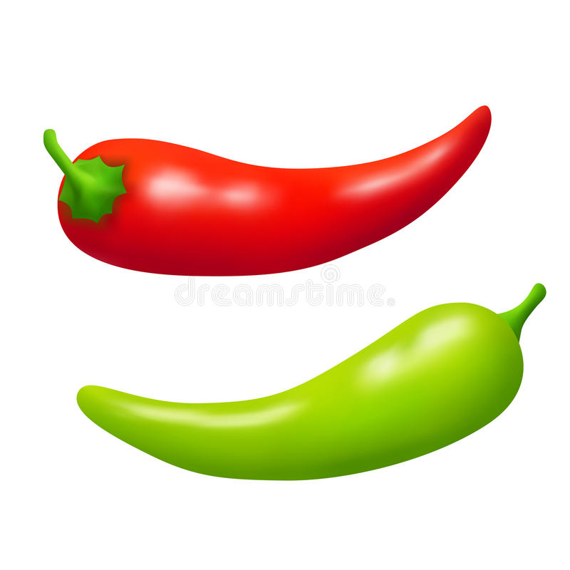 Chili pepper red green vegetable isolated illustration. Vector royalty free illustration