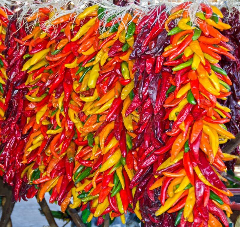 Chili Pepper Ristras fotografia stock