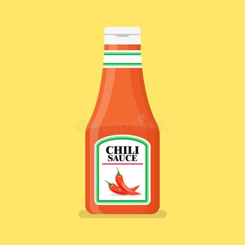Chili pepper sauce bottle. Vector illustration royalty free illustration