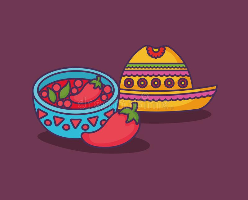 Mexican food design. Chili pepper sauce bowl and mexican hat icon over purple background, colorful design. vector illustration vector illustration