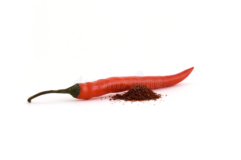 Download Chili Pepper With Spilled Spice Next To It Stock Image - Image: 8024695