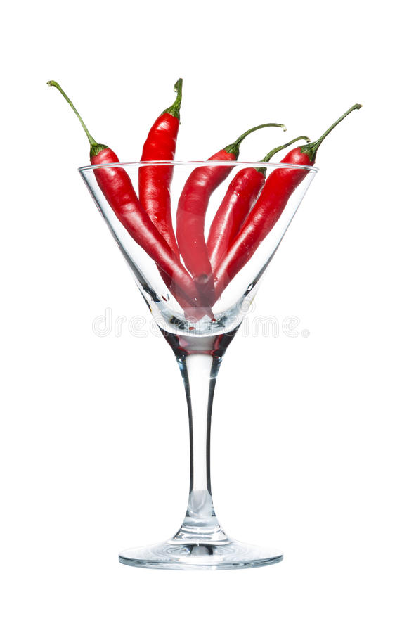 Chili Peppers in Martini glass royalty free stock photography