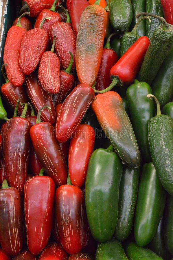 Chili peppers at mexican market stock photography
