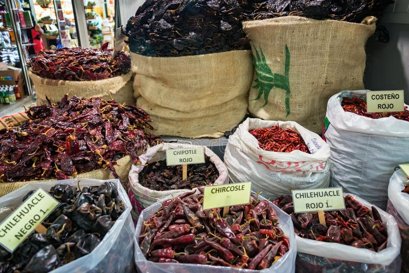 Chili Peppers in Mexico. Assortment of chili peppers for sale in a market in Oaxaca, Mexico royalty free stock image