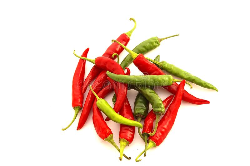 Chili Peppers Rouge Et Vert Photo Stock