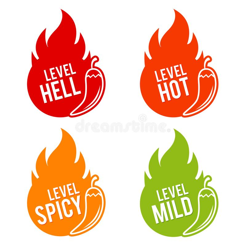 Chili peppers scale mild, spicy, hot and hell icons. Eps10 Vector.  stock illustration