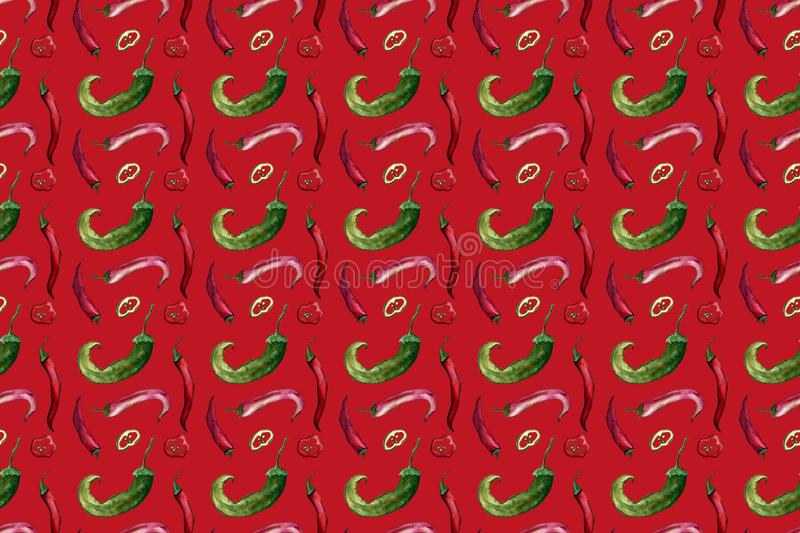 Red hot chili peppers seamless pattern on colored background, hand drawn watercolor. Autumn, harvest, vegetarian, vegetables stock illustration