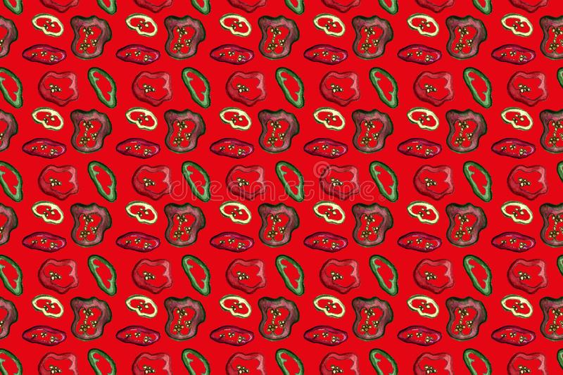 Red hot chili peppers seamless pattern on colored background, hand drawn watercolor. Autumn, harvest, vegetarian, vegetables. Chili peppers seamless pattern stock illustration