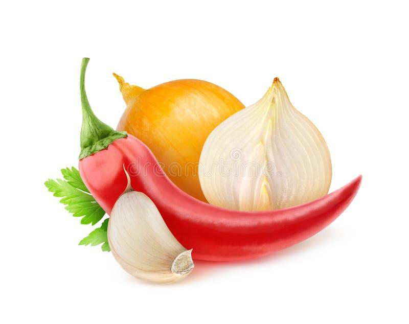 Chili pieprz, cebula i czosnek, obrazy stock