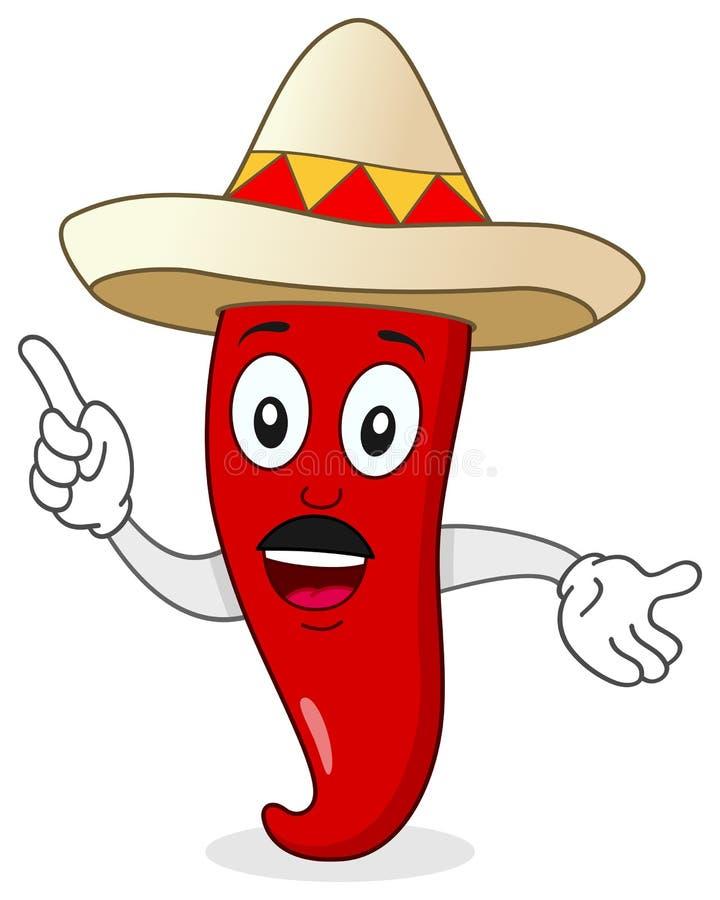 Chili pieprzu charakter z Meksykańskim kapeluszem royalty ilustracja