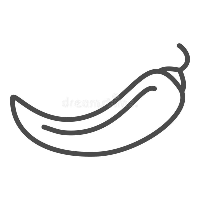 Chili pieprzu linii ikona, konturu wektoru znak, liniowy piktogram odizolowywaj?cy na bielu Logo ilustracja ilustracji