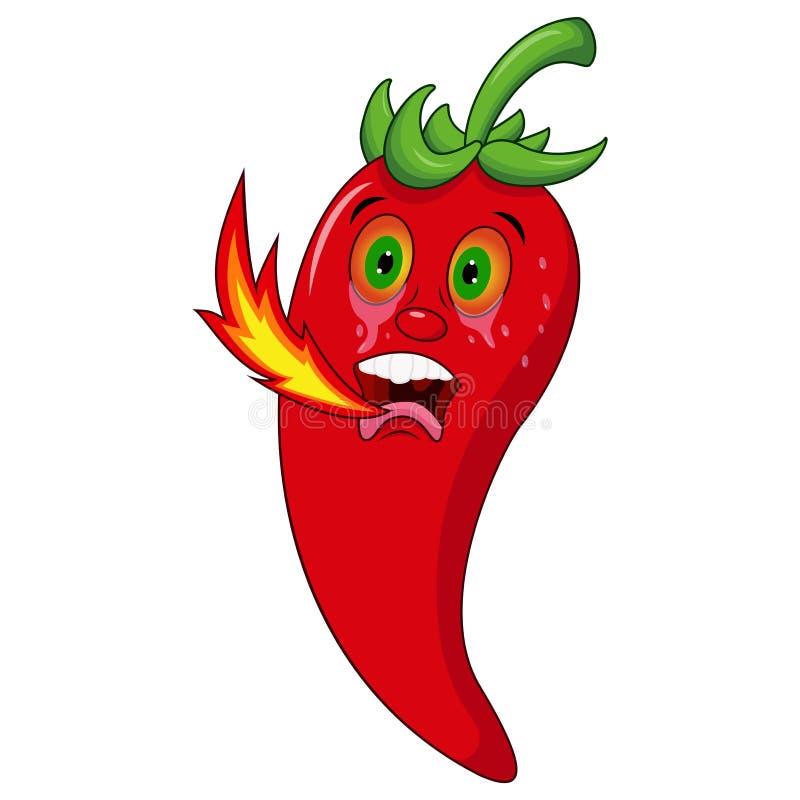 Chili postać z kreskówki oddychania ogień ilustracja wektor