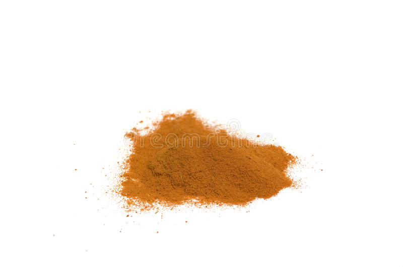 Chili powder. Close up on a heap of hot chili powder, isolated on white royalty free stock image
