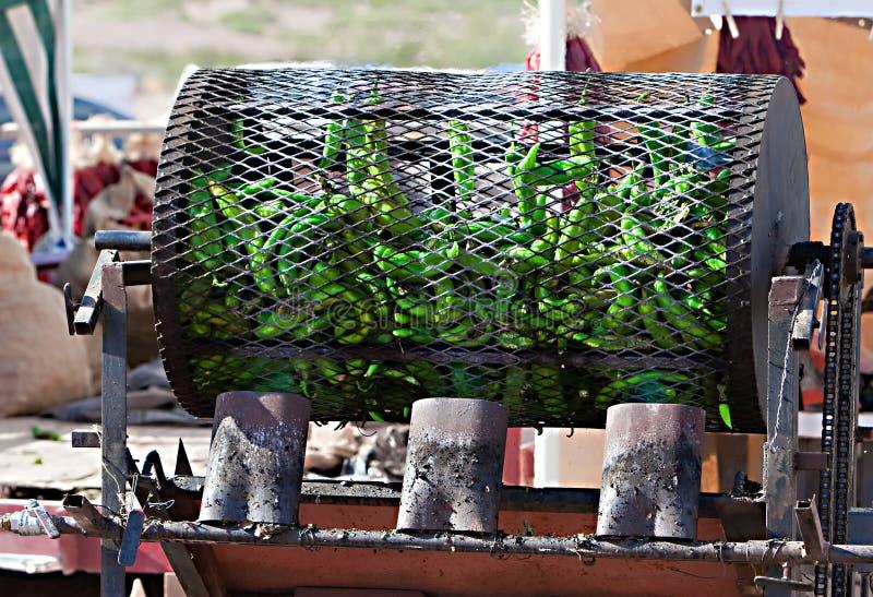 Chili Roasting verde fotografie stock libere da diritti