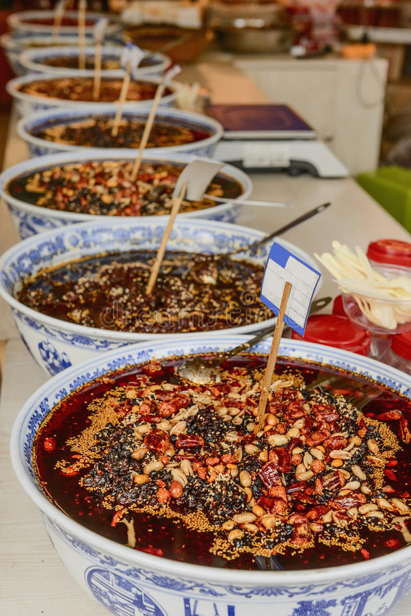 Chili sauce. In the basins stock photography