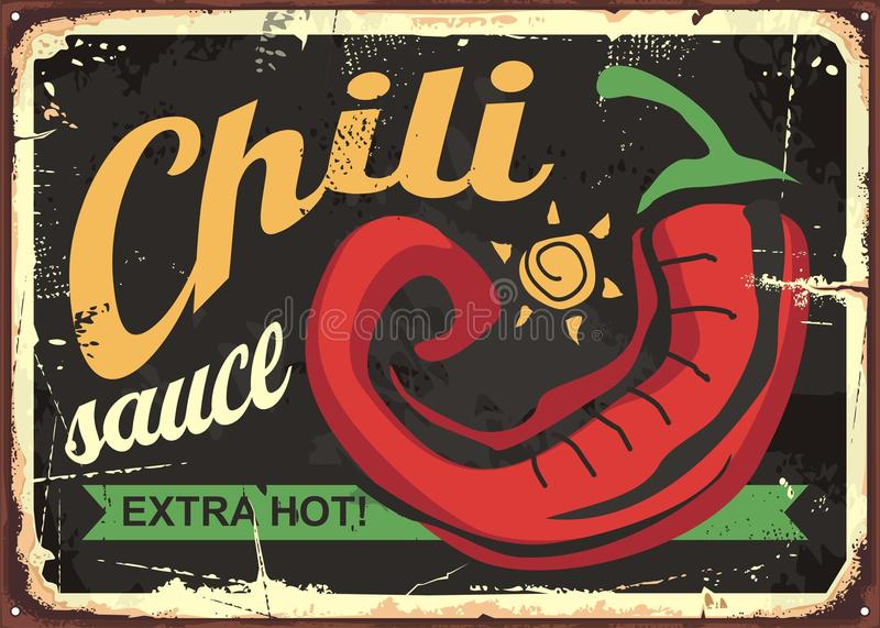 Chili sauce retro tin sign template design. Mexican food vintage advertise with red hot pepper on black background vector illustration