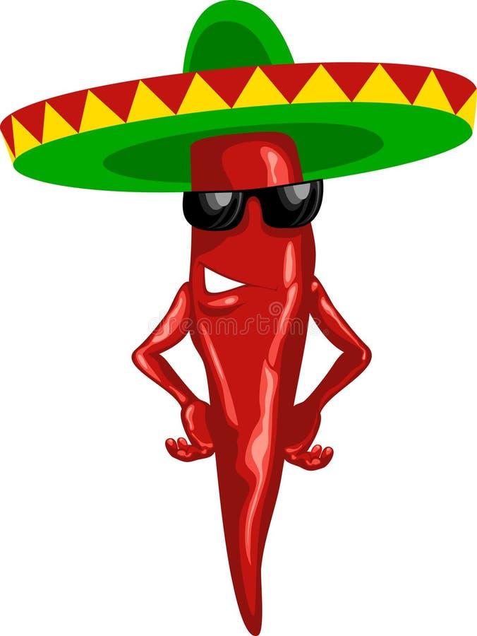 chili sombrero zielony gorący meksykański royalty ilustracja