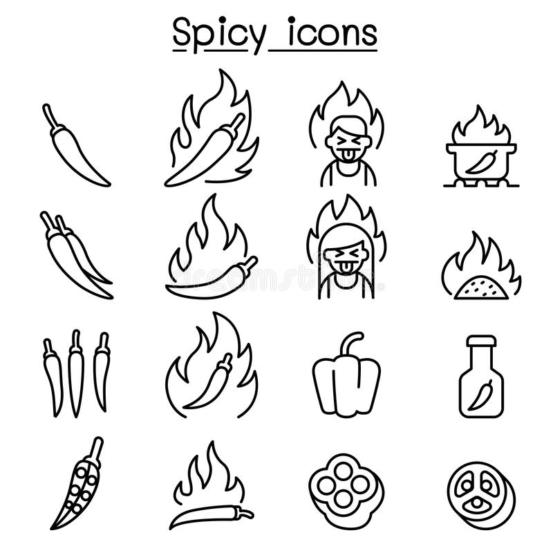 Free Chili & Spicy Icon Set In Thin Line Style Stock Photography - 101931382