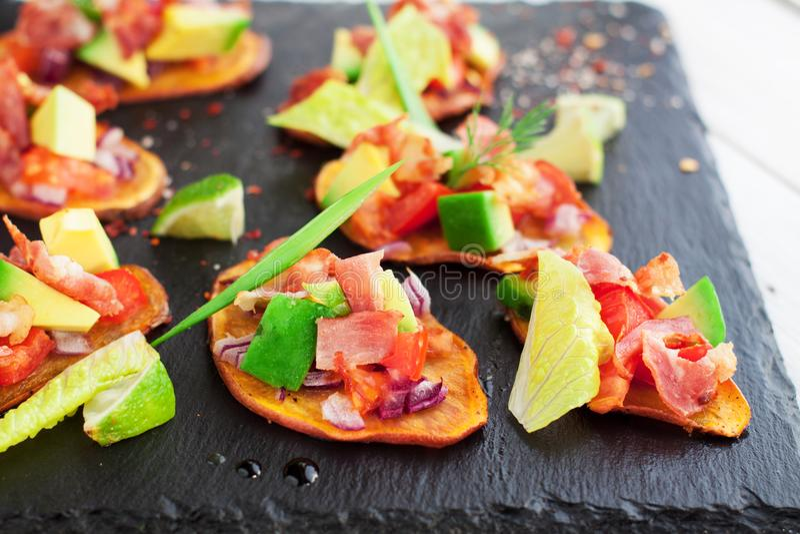 Chili sweet potato bites stock image