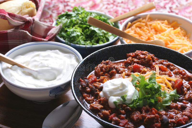 Chili & toppings royalty free stock photo