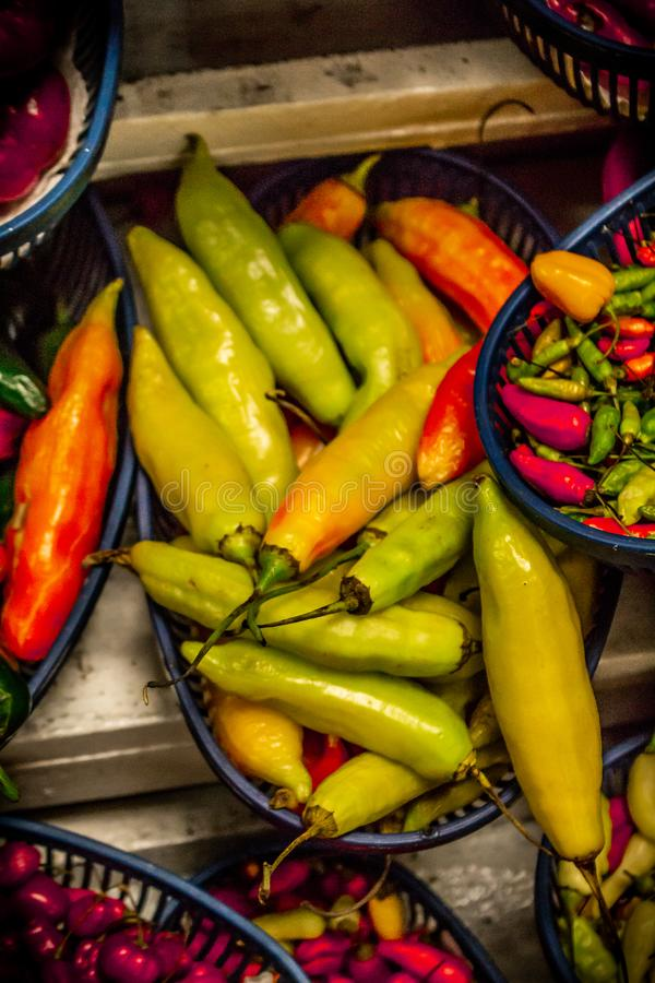 Chili varieties in a market stock images