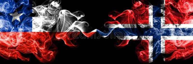 Chili versus Noorwegen, Noorse rokerige zij aan zij geplaatste mysticusvlaggen Dik gekleurde zijdeachtige rookcombinatie van Noor stock illustratie