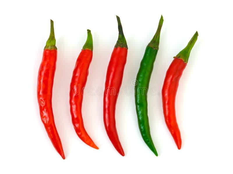 chili zielona gorącego pieprzu czerwień obrazy stock