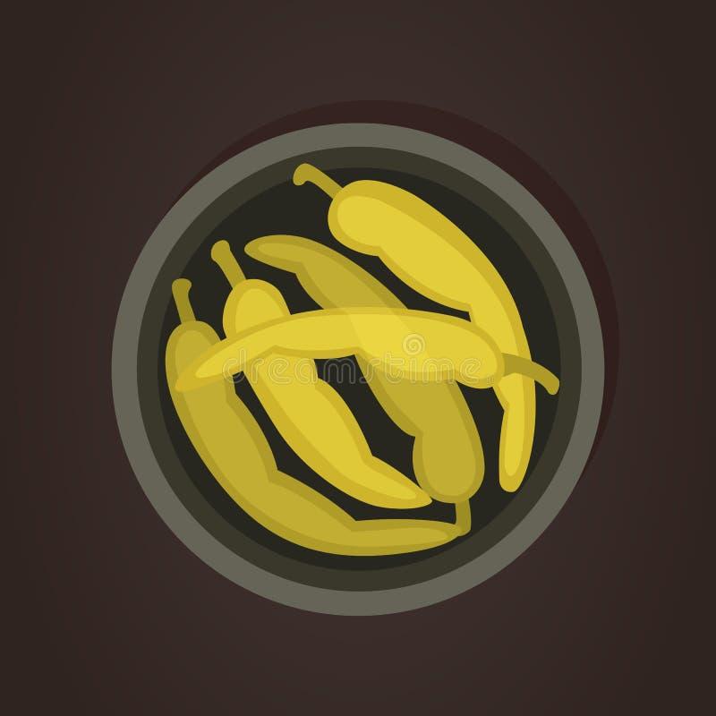 Chili zielony pieprz Karmowa wektorowa ilustracja odizolowywająca ilustracja wektor