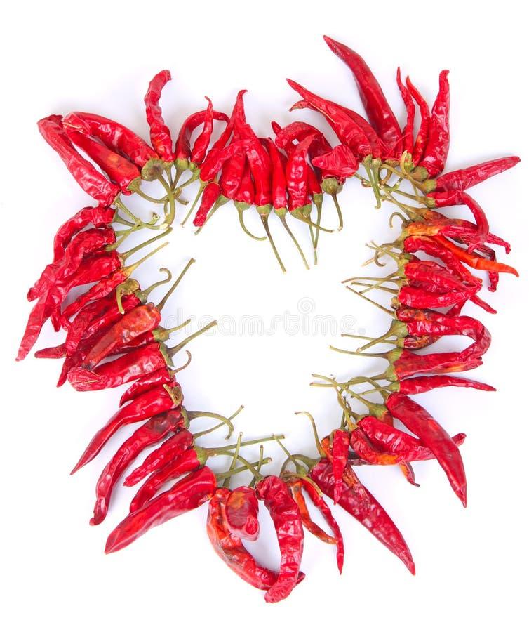chilies chaplet высушили сформированное сердце стоковые изображения rf