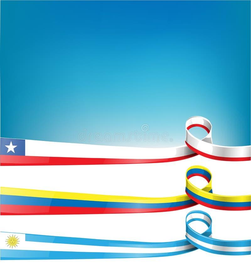Chilijczyk, uruguayan i kolumbijska flaga, ilustracji
