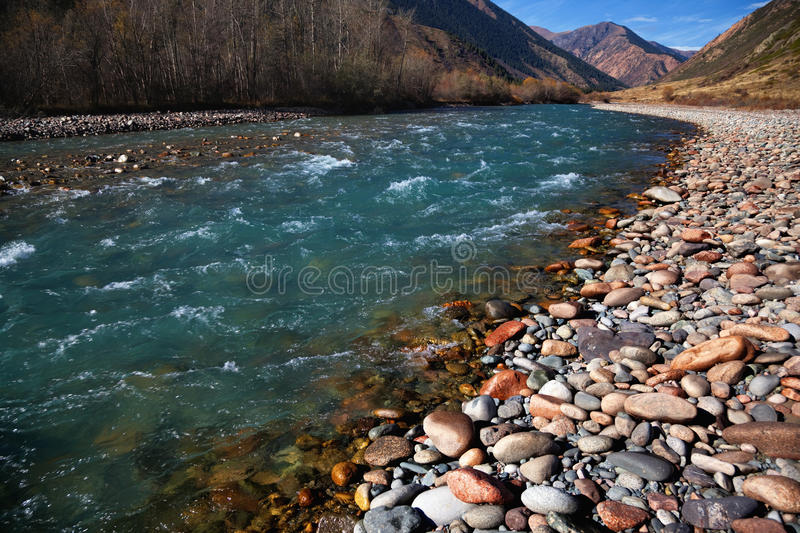 Chilik river in Kazakhstan stock photos