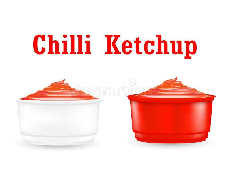 Chiliketchupsås i lite plast- bunke stock illustrationer