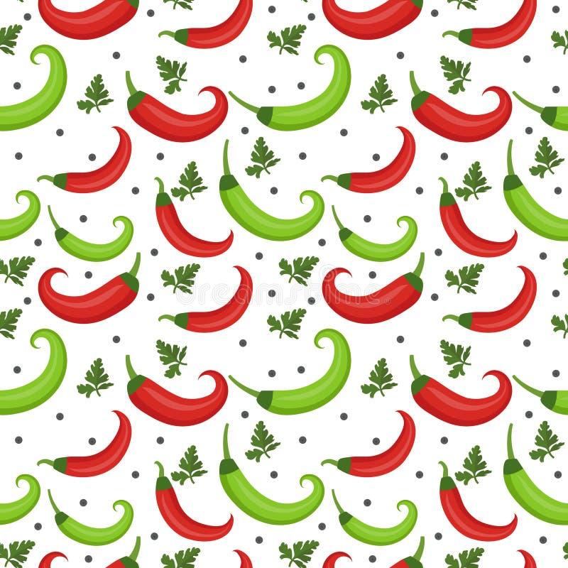 chilimodellen pepprar seamless Peppra röd och grön ändlös bakgrund, textur royaltyfri illustrationer