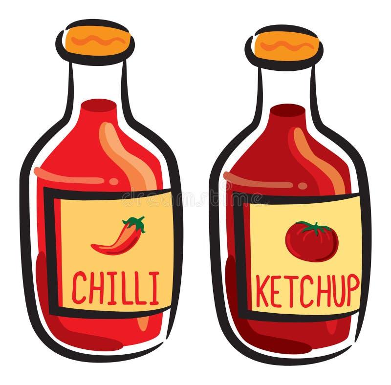 Chilin och ketchup buteljerar vektor illustrationer