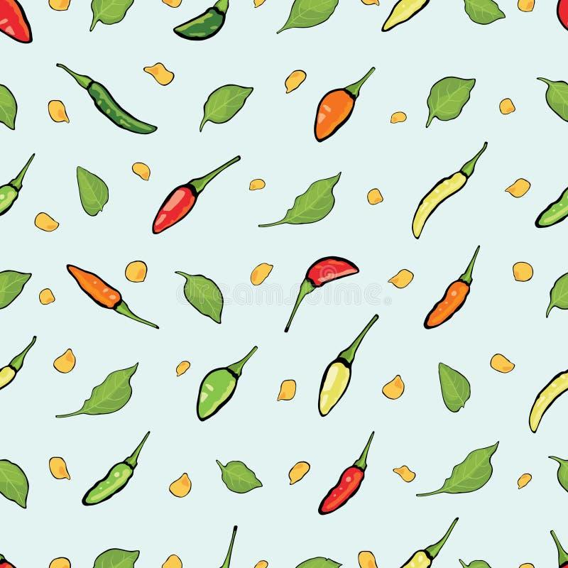 Chilipeppar, kärnar ur och sidor på blå bakgrund vektor illustrationer