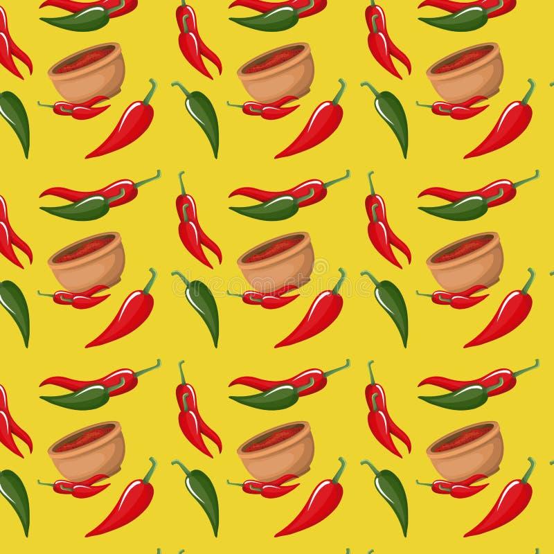 Chilipeppar och bunkemodell i gul bakgrund stock illustrationer