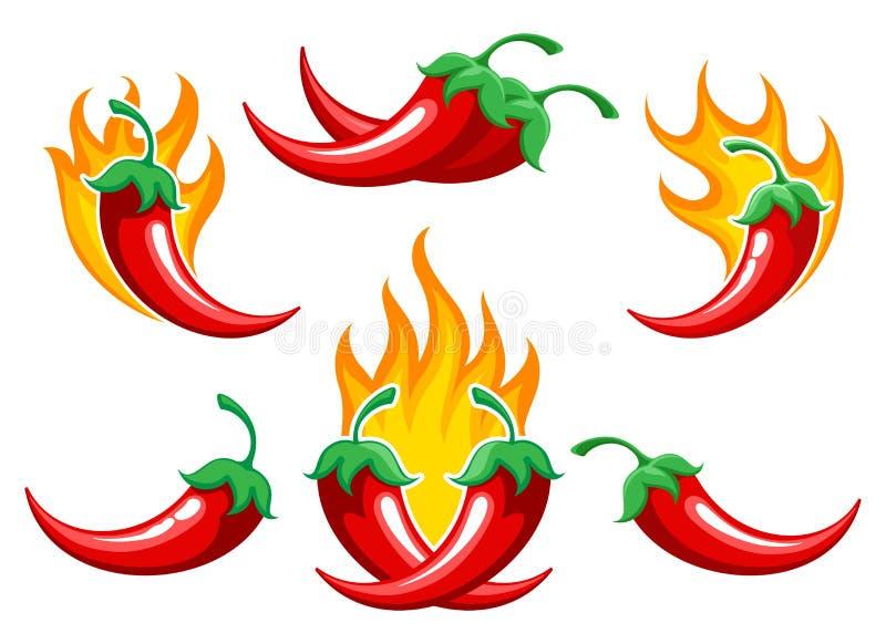 Chilipeppar på branduppsättning vektor illustrationer