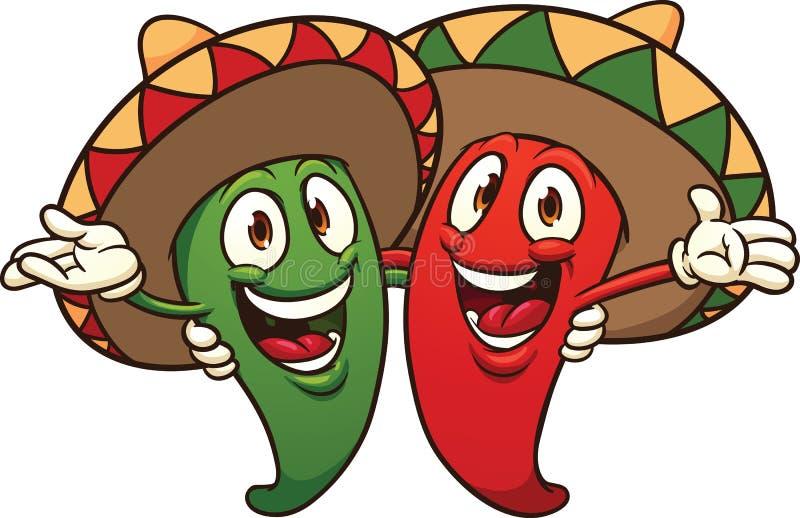 Chilipeppar som bär sombrero royaltyfri illustrationer